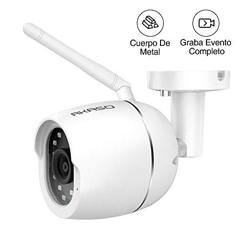 Akaso Cámara de Seguridad IP66 Impermeable con HD 1080P, IP Cámara de Seguridad Exterior Compatible con Alexa y Google Home, Visión Nocturna Audio Bidireccional Detección de Movimiento y Almacenamiento en Tarjeta y Nub