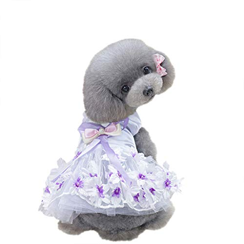 Brizz hondenjurk bruiloft bedrukt tutu prinsesjurk voor honden Pet Rok kleding, Medium, Lila-Winter