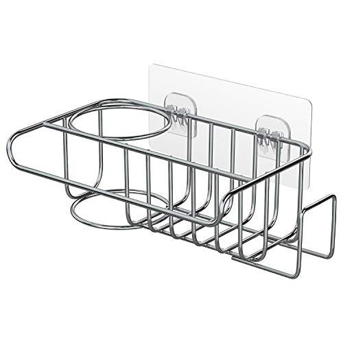 4 in 1 Sink Caddy Sponge Holder, SUS304 Stainless Steel Sink Basket Brush Holder + Dish Cloth Hanger + Soap Rack + Sink Stopper Holder with 2 Installation Ways, No Drilling