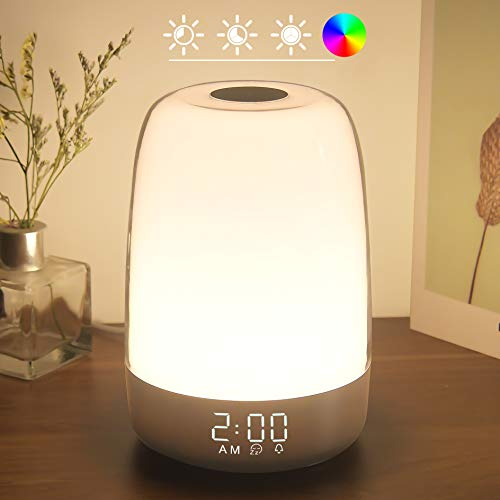 Touch Wake Up Night Light with Sunrise Simulation Alarm Clock, Winshine 3 Ways Dimmable Warm White Bedside Lamp for Kid Bedrooms RGB Ambient Table Nightstand Light,Sleep Aid Snooze Timer Mode