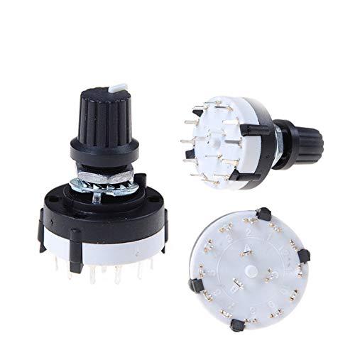 Interruptor de balancín en/apagado 3P4T solo panel del selector giratorio de frecuencia selector de banda de 3 polos 4 posiciones con perilla Negro