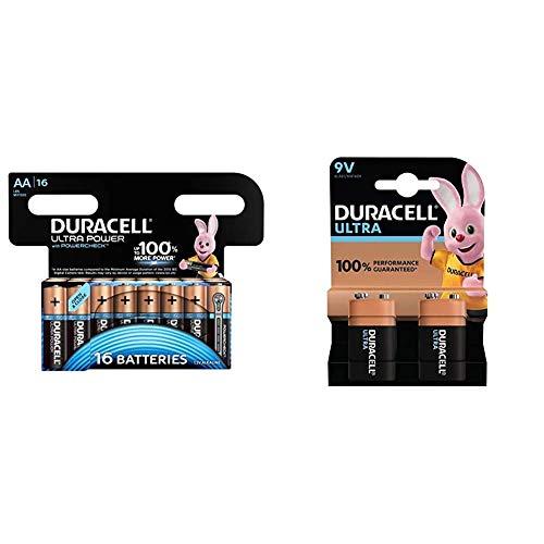Duracell Ultra Power AA Batterie Alcaline, Confezione da 16 & 6LR61 MX1604 Ultra 9V con Powercheck - Batteria Alcalina, Ottima per Rilevatore di Fumo, Confezione da 2, 1.5 V