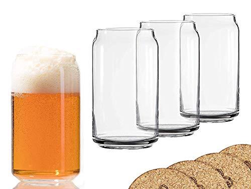 Ecodesign Drinkware Libbey Bierglas in Dosenform, 473 ml, 4 Stück mit Untersetzern