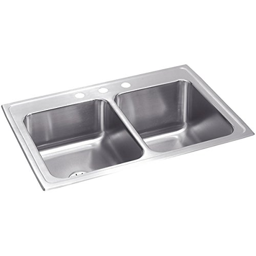 Elkay Lustertone STLR3322RPD0 Equal Double Bowl Top Mount Stainless Steel Sink with Perfect Drain