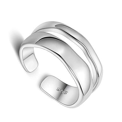 litulituhallo Anillo de platino chapado en plata de ley doble para mujer