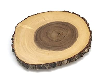 Lipper International Acacia Tree Bark Footed Server for Cheese