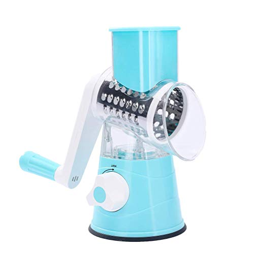 HanAu Round Mandoline Vegetable Slicer Rotary Cheese Grater with 3 Detachable Drum Blades, Rotary Grater for Kitchen Dishwasher Safe, Effiently Cheese Grinder Complimentary Strainer (Blue)