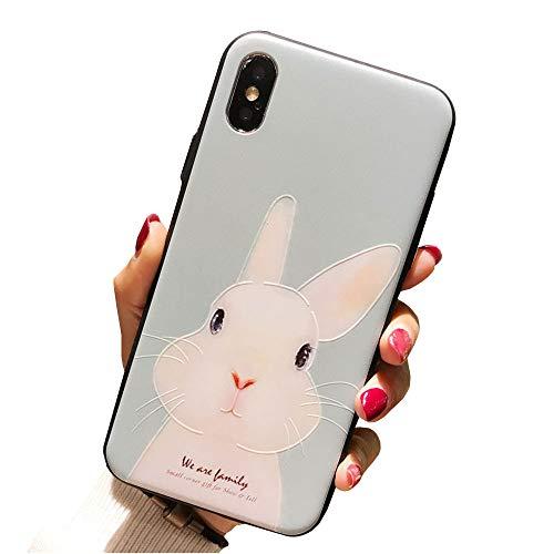 iPhone 7 Case iPhone 8 Cover Case Super Cute Cartoon Soft TPU Bumper Hard PC Back Cover for Girls 360 Degree Protection (Cute rabbit-7/8)