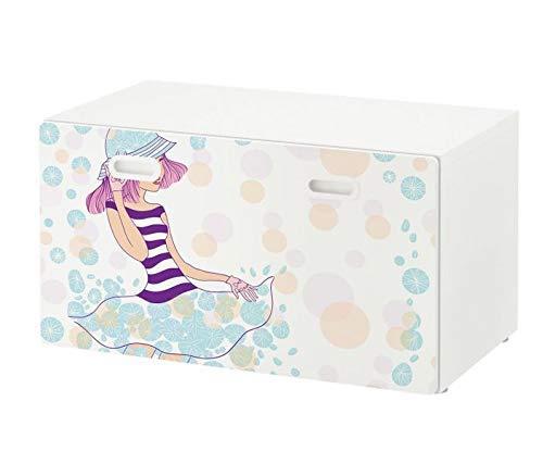 Möbelaufkleber für Ikea STUVA FRITIDS Bank mit Kasten Mädchen blaues Kleid Blätter Frühling Kat2 Kinderzimmer STF1 Aufkleber Möbelfolie Folie (Ohne Möbel) 25O2715