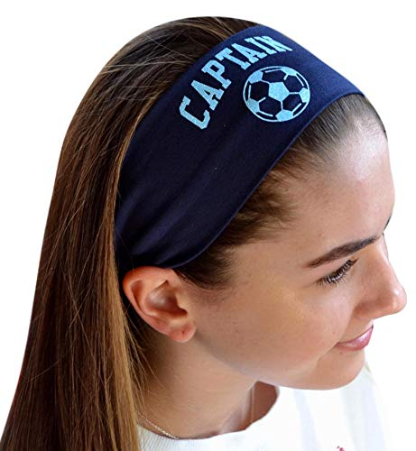 soccer headbands Design Your Own Personalized Soccer Cotton Stretch Headband with Glitter Text and Custom Name by Funny Girl Designs
