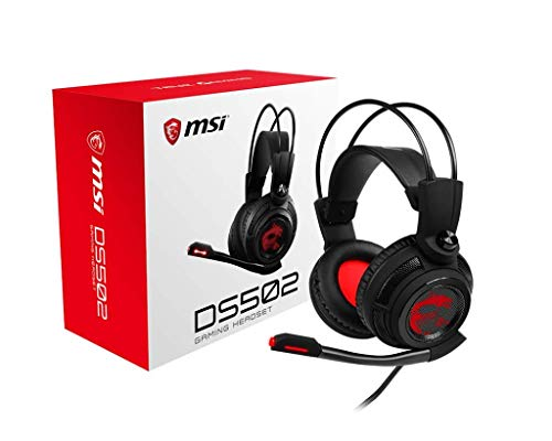 MSI Gaming Headset with Microphone, Enhanced Virtual 7.1 Surround Sound, Intelligent Vibration System (DS 502) (Renewed)