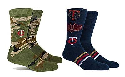 PKWY Unisex 2-Pack MLB Minnesota Twins Mixed Crew Socks