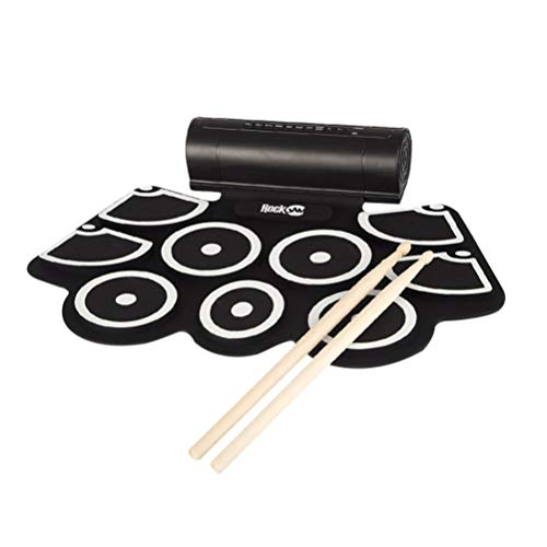 Sale!! Milisten Roll Up Drum Practice Pad Tabletop Electronic Silicone Drum Pad Drum Sticks Foldable...