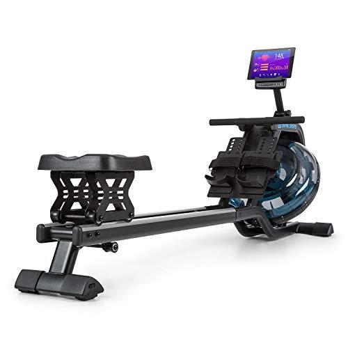 Capital Sports Flow - Máquina de Remode Agua,Banco de Remo, 80 cm de Largo, Ordenador con Pantalla LCD, Soporte para tabletas, Aluminio y Acero,6 Niveles/ máx. 14 litros, Negro/Plateado