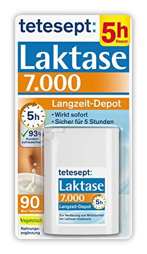 tetesept Laktase 7.000 Langzeit-Depot - Mit 5 Stunden Langzeit-Depot - kontinuierlicher Laktoseabbau in Magen & Darm - wirkt sofort - 1 Dose à 90 Stück (Nahrungsergänzungsmittel)