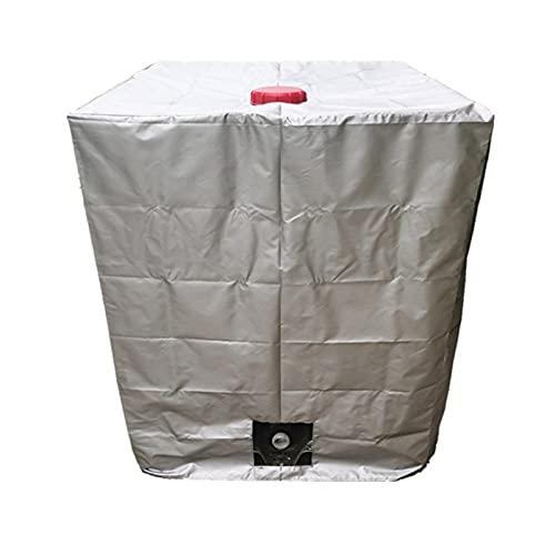 HUANRU Abdeckplane Für Wassertank 1000 L 120 X 100 X 116 cm Mit Lochausschnitt Schutzhülle Schutzhaube Schutzplane UV-Folie Cover Für IBC-Tank Regenwassertank Container Behälter,Silber