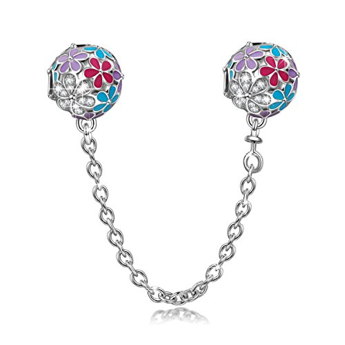 NinaQueen Happy Daisy 925 Sterling Silver Stopper Safety Chain Colorful Bead Charms Fit pandöra Charms for Bracelets Necklace Jewelry Christmas Gifts for Women Birthday Anniversary Gifts for Her