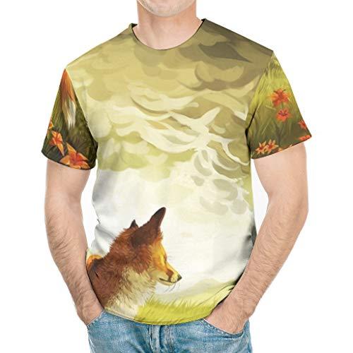 Lässig Herren Grafik T-Shirt Fantasie Fuchs Berg Tier Kunstwerke Druck Mode Straßenhemd White 3X-Large