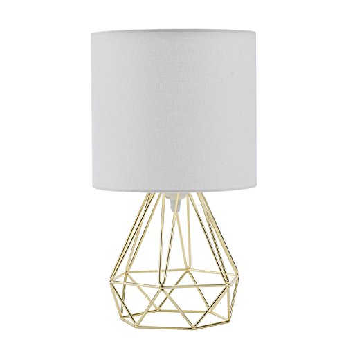 Sfeomi Tischleuchte Tischlampe im retro Körbchenstil Leselicht Vintage Tischleuchte Nachttischlampe Table Lamp mit warmweißem Stoffschirm (Gold)