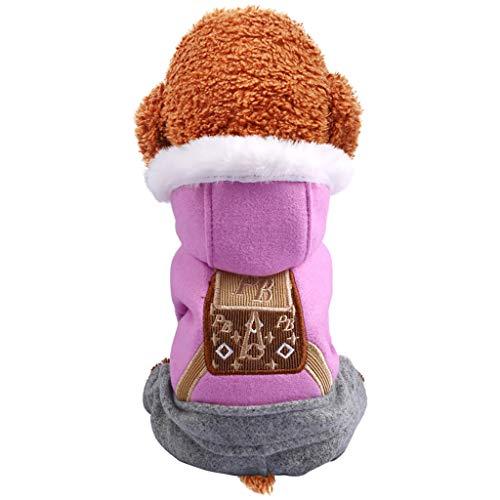 Yowablo Hundebekleidung Winter Hunde Pullover Zubehör Hundepulli Kleidung Dog Clothes Vierbeinig Kleine Hunde (XL,1- Lila)
