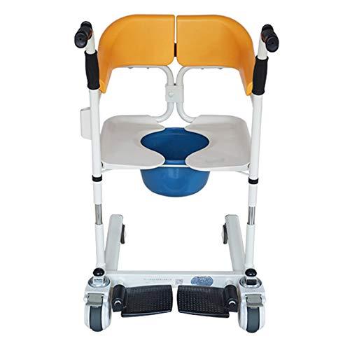 Gycdwjh Multifunktionaler Behinderter älterer mobiler Sitz,Rehabilitation Nursing Commode Dusch Rollstuhl,mit rutschfeste Schlösser und Rollen,Maximale Durchgangsbreite 22