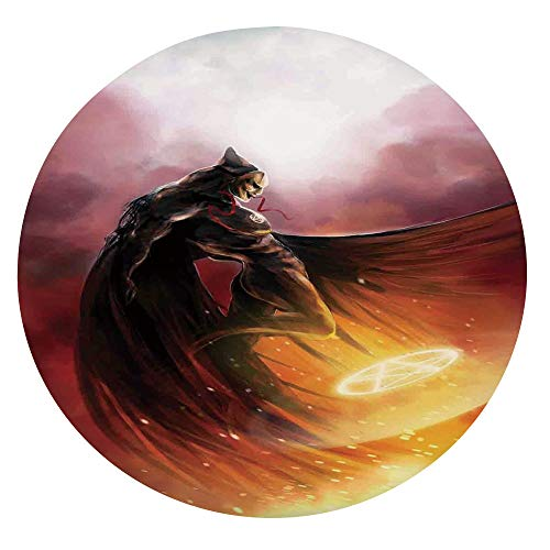 Mantel resistente a las manchas, superhroe en su disfraz original Flying Up Magic Flame Save the World, se adapta a mesas redondas de 56 a 60 pulgadas, para vacaciones, casa, Navidad, picnic, grito