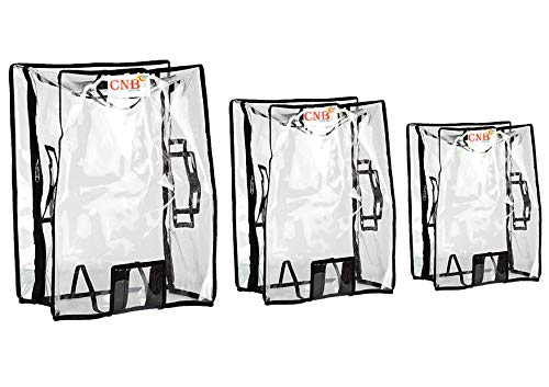 """CNB Transparent Protective Zipper PVC Dust Proof Cover for Soft/Nylon Body Luggage/Suitcase Trolley Bags (Pack of 3 (22"""",26"""",30""""))"""