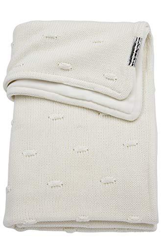 Meyco 2754050 babydeken wintergebreid met velvet en knopen 100x150 cm, wit
