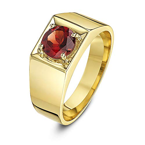 Theia Women's 9 ct Yellow Gold, Round Garnet Stone Set in a Square Designed Prong Setting Ring, Size R