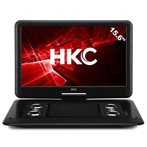 HKC Reproductor de DVD portátil D16HM01 de 15.6 Pulgadas, Pantalla giratoria, Tarjeta SD, Puerto USB con batería, Control Remoto y Cargador para automóvil