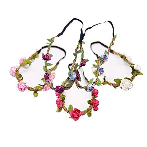 5 diademas de flores multicolor bohemias corona floral guirnalda diademas diadema con cinta elástica para bodas, fiestas en la playa