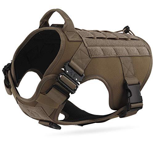 Dociote Taktisches Hundegeschirr militär mit Griff Brustring no Pull Geschirr Sicherheitsgeschirr für mittelgroße große Hunde Khaki L