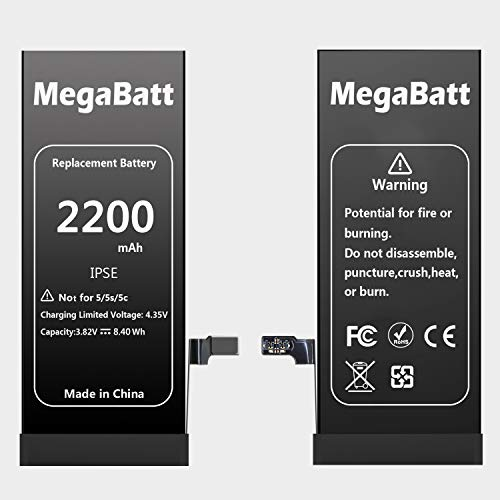 MegaBatt Battery for iPhone SE, 2200mAh High Capacity Replacement Battery New 0 Cycle, with Complete Repair Tool Kits and Instruction- 1 Year Warranty