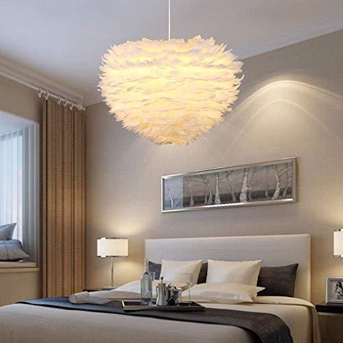 DEJ lampen, oorbellen, moderne persoonlijkheid, oorbellen, hart, witte veren, decoratie, hanglamp, in hoogte verstelbaar, E27, 3 vlammen max. 40 W, 400 mm.