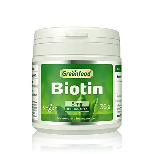 Biotin, 5 mg, hochdosiert, 180 Tabletten, vegan – das Beauty-Vitamin für schöne Haut und kräftige Haare. OHNE künstliche Zusätze. Ohne Gentechnik.