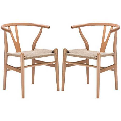 Poly and Bark Weave Modern Wooden Mid-Century Dining Chair, Hemp Seat, Natural (Set of 2)