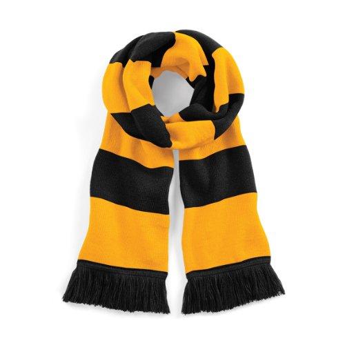 Beechfield Stadium Scarf Echarpe, Multicolore (Black/Gold 00), Taille unique Mixte