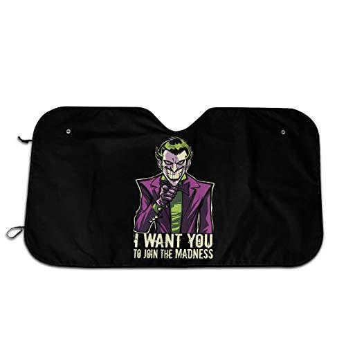 PHFCZJ Madness Joker Wants You Auto Windshield Sun Shade,Car Sun Shades,Blocks UV Rays,Visor Car Front Window Sunshade,Universal Fit for Car Auto Sedan Truck SUV