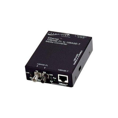 Transition Networks E-TBT-FRL-05 10BASE-T to 10BASE-FL Ethernet Media Converter - 1 x RJ-45 , 1 x ST - 10Base-T, 10Base-FL - Wall-mountable