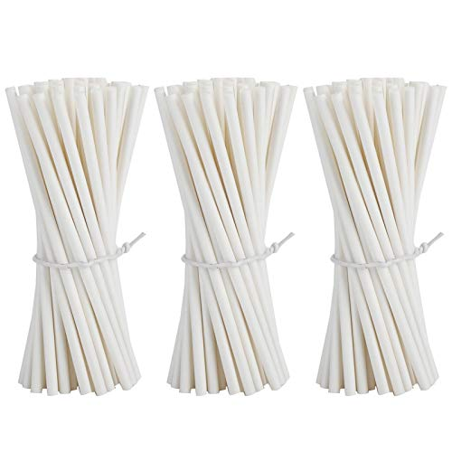 Toasses 300 unids Papel Lollipop Sticks Food Grade Hollow White Candy Pastel...