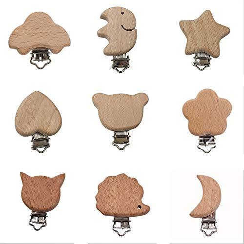 9 pezzi Clip ciuccio Legno Baby Portaciuccio Fissare Ciuccio Clip Catenella Ciuccio Clip giocattolo massaggiagengive in legno per bambino Ragazzo Ragazza, forma di animale dei cartoni animati
