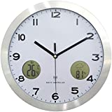 DLMDLL Reloj de Pared con Radio Reloj de Pared con estación meteorológica con termómetro e higrómetro de 12 Pulgadas de diámetro
