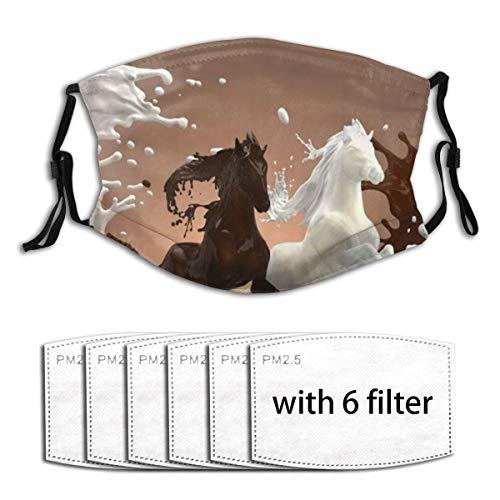 DYCBNESS Face Cover Abstraktes Pferd cremige milchige und heiße bräunliche Schokoladenflüssigkeitspferde, die Galopp über gemischte Spritzer laufen Anti-Staub-Mund-Bandanas mit 6 Filtern