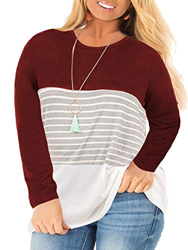 VISLILY Women's Plus Size Tunic Tops Long Sleeve Loose Striped Tee Shirts Wine Red 26W