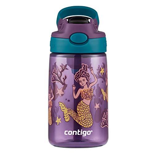Contigo Kids Water Bottle with Redesigned AUTOSPOUT Straw, 14 oz., Eggplant & Mermaid