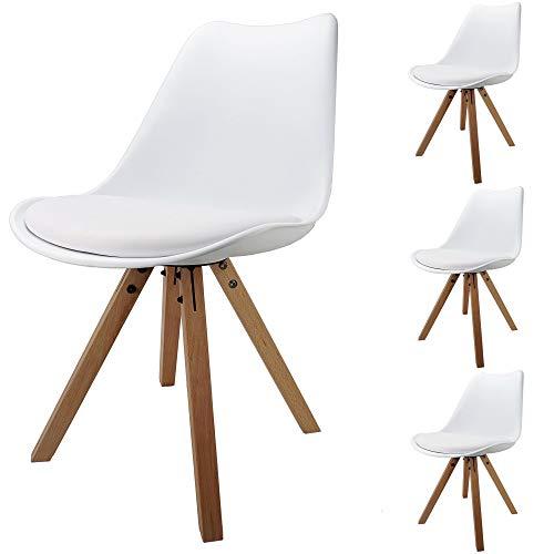 Cepewa Retro Designer Stühle | 4er Set | weiße Sitzschale mit Polster in Leder Optik | Holzbeine Natur | sehr stabil |