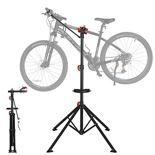Yaheetech Folding Bicycle Repair Stand Mountain Bike Mechanic Workstand with Quick Release Telescopic Black