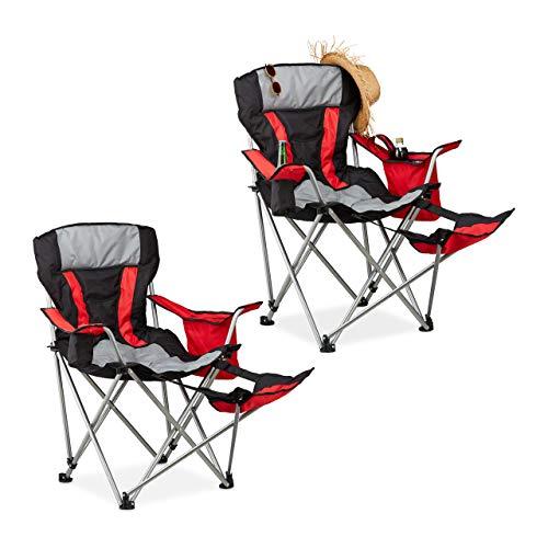Relaxdays 2 x Campingstuhl mit Fußablage, klappbar, Angelstuhl, Getränkehalter, Kühltasche, Festivalstuhl bis 150 kg, schwarz-rot