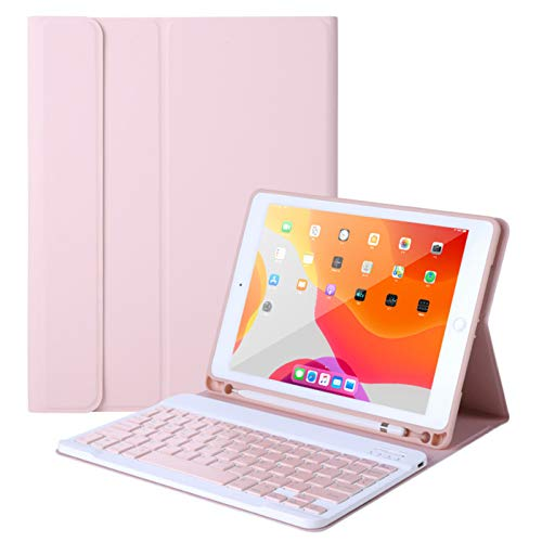 Keyboard Case for iPad Air 4th Gen 10.9' 2020, Detachable Wireless Bluetooth Smart Mute Keyboard with Touchpad, Lightweight Slim Leather Case Cover Full Protection Anti-fall (Pink)