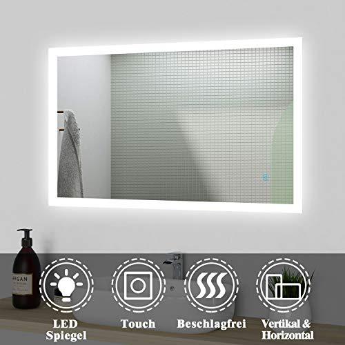 Acezanble LED Badspiegel 120x70cm, Badezimmerspiegel mit Beleuchtung, kaltweiß Lichtspiegel,beleuchtet Wandspiegel mit Touchschalter + Beschlagfrei IP44 energiesparend, Spiegel Heizung